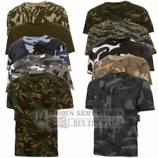 BRITISH ARMY MILITARY CAMO T-SHIRT MENS COMBAT CAMOUFLAGE CADET COTTON FISHING