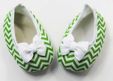 Green Chevron Baby Crib Shoes with Bows - Newborn, 3-6 Months, 6-12 Months