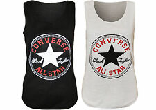Ladies Women's Converse Star Sleeveless Racer Back Muscle Vest Tank T Shirt Top