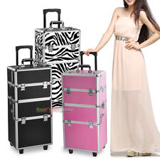 New  Pro 3 in1 Aluminum Rolling Makeup Cosmetic Train Case Wheeled Box 3 Color