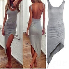 Summer Sexy Womens Casual Camisole Tank Top Backless Strap Bodycon Mini Dress XX