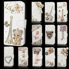 Luxury Bling bowknot Crystal Diamond Wallet Flip Case Cover For Samsung iPhone
