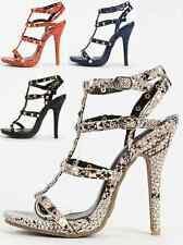 Womens Strappy Studded Snake High Heels Stiletto Pumps Open Toe PU-Leather Caged