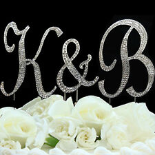 Rhinestone Crystal Monogram Diamante Wedding Cake Topper Letter 12cm & 7cm And