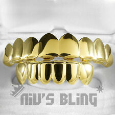18K Gold Plated STAINLESS STEEL GRILLZ 8 Tooth Top & Bottom Hip Hop mouth Grill