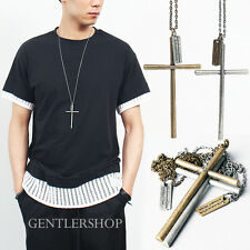 Mens Fashion Metal Cross Necklace - Gold and Silver 01, GENTLERSHOP