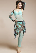 Belly Dance Costumes 2pics set Shrug Arm Gloves & Hip Scarf Skirt Dress 5 colors
