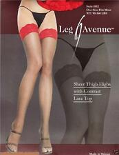 Ladies Ultra Sheer Nylon Thigh High Stockings With Contrast Lace Tops - Clubwear
