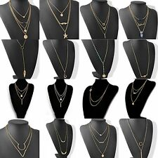 Women Chic Geometry Charms Crystal Diamante 3 Layers Gold Chain Fashion Necklace
