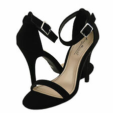 Women's Shoes Anne Michelle Enzo 01N Ankle Strap Sandals Black NUB *New*