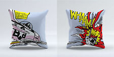 PAIR OF 18x18 Inch FILLED THROW CUSHIONS - 2 x Roy Lichtenstein Wham Whaam Set