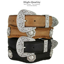The Fort Worth - Western Berry Conchos Genuine Leather Scalloped Belt, 1-1/2""
