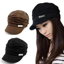 Casual Pleated Layers Beanie Hat Peaked Brim Cap Women Girl Sun Protector Beret