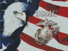 Cross stitch chart, Pattern, USMC, US, Marine Corps. Navy, Air Force, Military