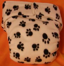 AIO (All In One) Adult Baby Reusable Cloth Diaper S,M,L,XL Paw Prints on White