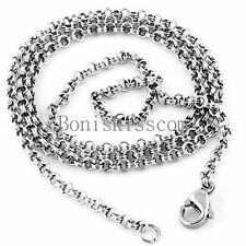 Stainless Steel Double Loop Combined Chain Men Women Link Necklace Birthday Gift