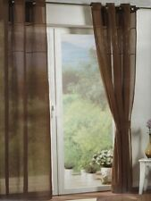 pair of Imitation cotton Sheer Curtain Voile Window Curtains eyelet coffee