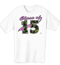 GIRLS CLASS OF 2015 PINK AND GREEN CAMOUFLAGE WOMENS T-SHIRT IN SIZE SMALL-4XL