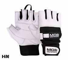WHITE PADDED WEIGHT LIFTING LEATHER GLOVES FITNESS TRAINING GYM DOUBLE STRAPS