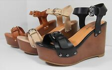 New Womens High Heel Ankle Strap Wedge Sandal Open Toe Platform Fashion Pumps