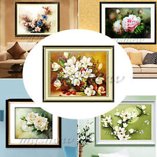Handmade Cross Stitch Kit Embroidery Set Flower Design White Rose/Peony/Magnolia