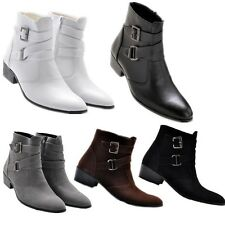 Stylish mens casual chukka  cowboy ankle boots zipper buckle strap dress shoes