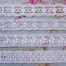 Vintage Style Double Edged Embroidered Tulle Lace Trim  Wide  Ivory 2Yd