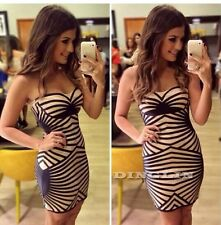 Women Sexy Strapless Printed Tube Cocktail Prom Party Evening Mini Short Dress