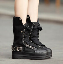 Womens Spike Canvas Punk Goth Creeper Shoe Platform Ankle Boot Combat Sneaker