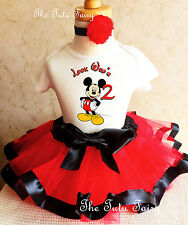 Mickey Mouse Red Black 2nd Second Birthday Shirt Tutu Outfit Set girl
