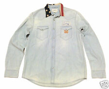 Denim Supply Ralph Lauren Mens M XL US Flag-Collar Western Cowboy Chambray Shirt