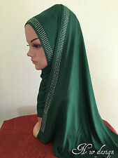 Women Cotton Jersey Free size Scarf Hijab with Rhinestones border #8.(No Tax)