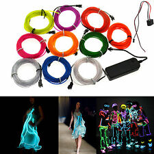 1/2/3/4M 5M Led EL Wire Rope Flexible Neon Glow Car Party Light+3/12V Controller