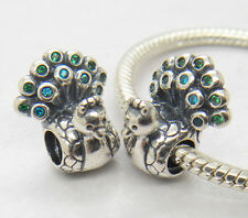 Authentic Genuine Silver PEACOCK CHARM Bead