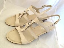 Franco Sarto Ballon Womens Ivory Leather Wedge Sandals Shoes New in Box