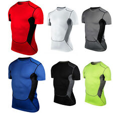 Mens Compression Base Layer Short Sleeve Under Shirt Skin Tight Tops Body Armour