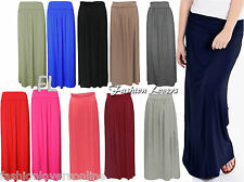 Ladies Women Pleated Fold Over Waist Jersey Long Length Viscose Gypsy Maxi Skirt