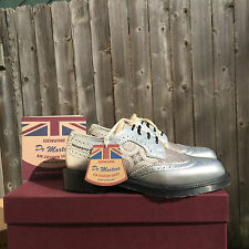 NIB Dr. Martens Women's Irene Made in England Silver Metallic Leather & Silk