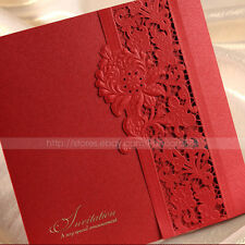 Delicate Laser Cut-out Tri-fold Wedding Invitations Cards and Envelopes, Seals