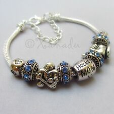 Hockey Mom European Charm Bracelet With Birthstone And Hockey Player Beads