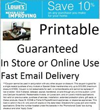 One (1)-Coupon for Lowes 10% OFF Very Fast shipping Printable