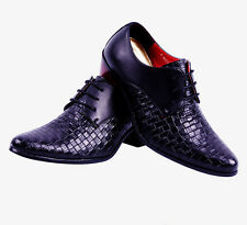 Men Lace-Up casual pointed toe British style trendy cuban heels dress shoes 44