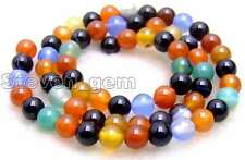 """SALE Small 6mm Round multicolor agate gemstone Beads strand 15""""-los627"""