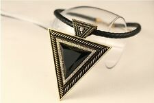 Vintage Exaggerated Big Triangle Leather Rope Rhinestone Bib Chunky Necklace TOP