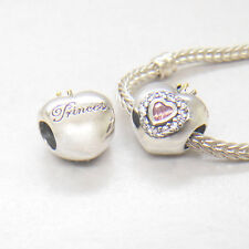 Authentic S925 Silver HEART WITH 14K CROWN PINK AND CLEAR Cz Charm