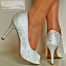 Ladies Satin Floral Lace High Heel Peep Toe White Party Bridal Court Shoes Size