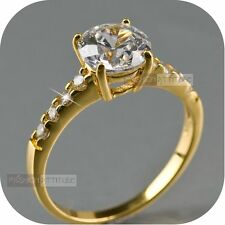 18k yellow gold gp women's wedding engagement SWAROVSKI crystal Ring classic