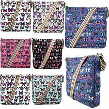 Ladies Canvas Shoulder Bag Butterfly Designer School Messenger Satchel Crossbody