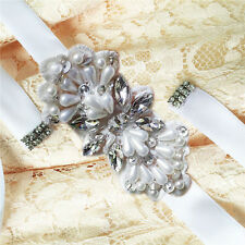 Handmade Elegant Pearl Flower Wedding Crystal Sash With Beaded Bridal Dress Belt