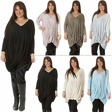 New Ladies Womens Italian Lagenlook Quirky Layered Dress V-Neck Top Plus Size 18
